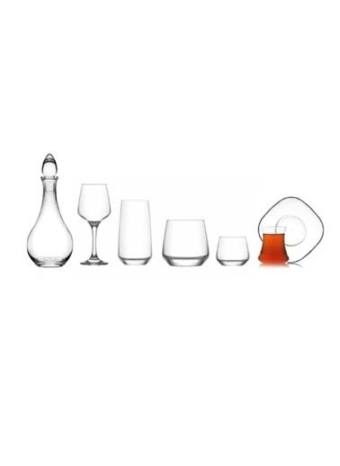 Lav Lal Çeyiz Seti 38 Prç. Su Bardak - Bardağı - Meşrubat Bardağı Renkli